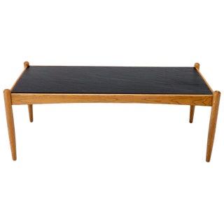 Danish Mid-Century Modern Slate Top Teak Frame Coffee Table For Sale