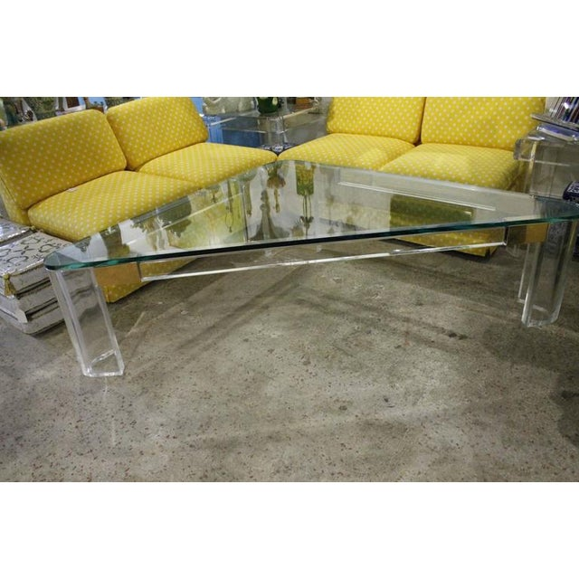 Brass Charles Hollis Jones Lucite and Brass Triangle Coffee or Cocktail Table For Sale - Image 7 of 11