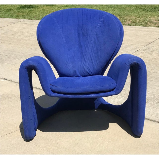Textile 1980s Vintage Post Modern Curvy Accent Chair For Sale - Image 7 of 10