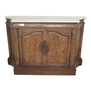 Regency Marble Top Walnut Hall Cabinet