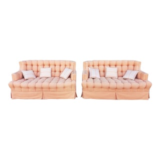 Pair Mid Century Modern Peach Corduroy Upholstered Tufted & Pleated Loveseats C1950s For Sale