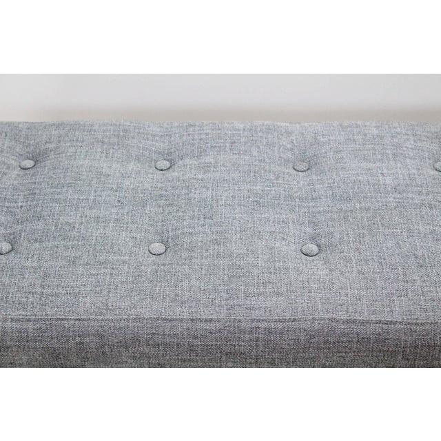 2010s Elegant Custom Waterfall Acrylic & Linen Bench, Acrylic Bench, Gray Linen Bench For Sale - Image 5 of 10