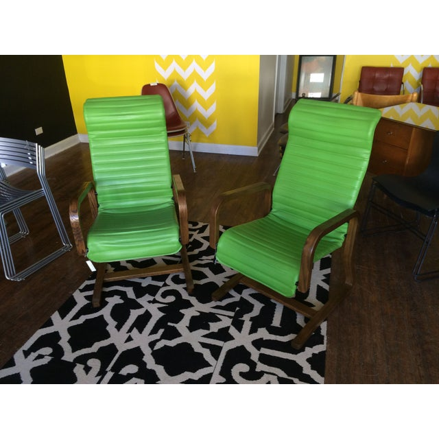Thonet Bentwood Lounge Chairs in Green - A Pair - Image 2 of 8