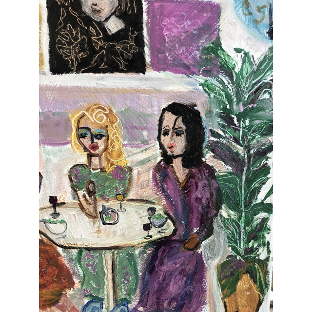 "2010s ""3 Ladies at Lunch"" Oil Painting By J J Justice For Sale - Image 5 of 11"