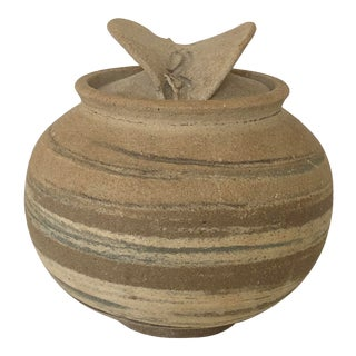 Rustic Pottery Glaze Lined Covered Bowl For Sale