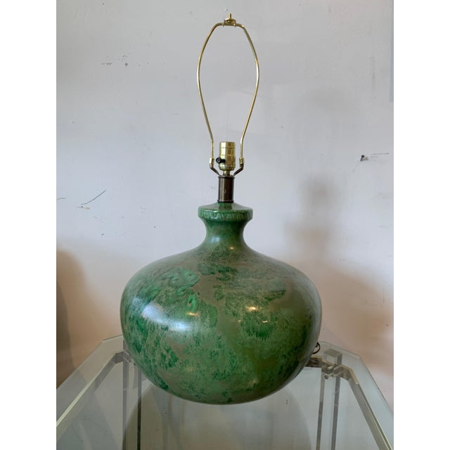 Ceramic Mid-Century Modern - Green Hand Glazed Ceramic Lamp With Linen Shade For Sale - Image 7 of 10