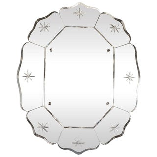 French Mid-Century Modern Scalloped & Beveled Etched Octagonal Wall Mirror For Sale