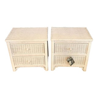Vintage 1970 Henry Link Wicker Nightstands - a Pair For Sale