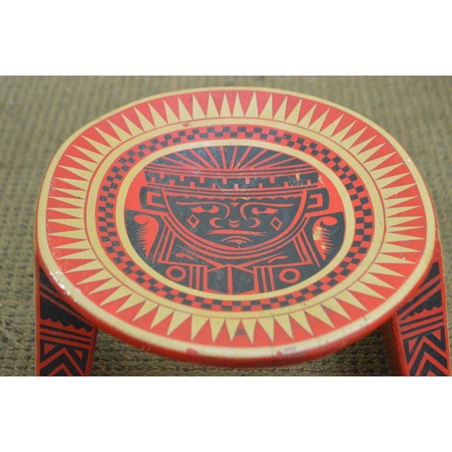 Vintage Hand Painted Aztec Tribal Stools - A Pair - Image 10 of 10