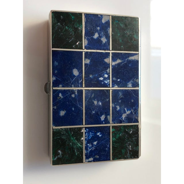 1960s Vintage Lapis Lazuli and Malachite Silver Box For Sale - Image 4 of 6