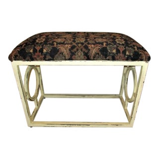 Bench Seat Iron With Antique Persian Rug Seat Cover
