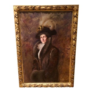 Vintage Large Framed Turn of the Century Society Oil Painting For Sale