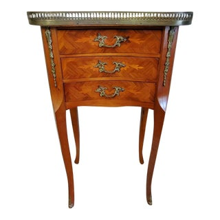 1940s French Louis XV Style Ormolu Mounted Marquetry Side Table For Sale