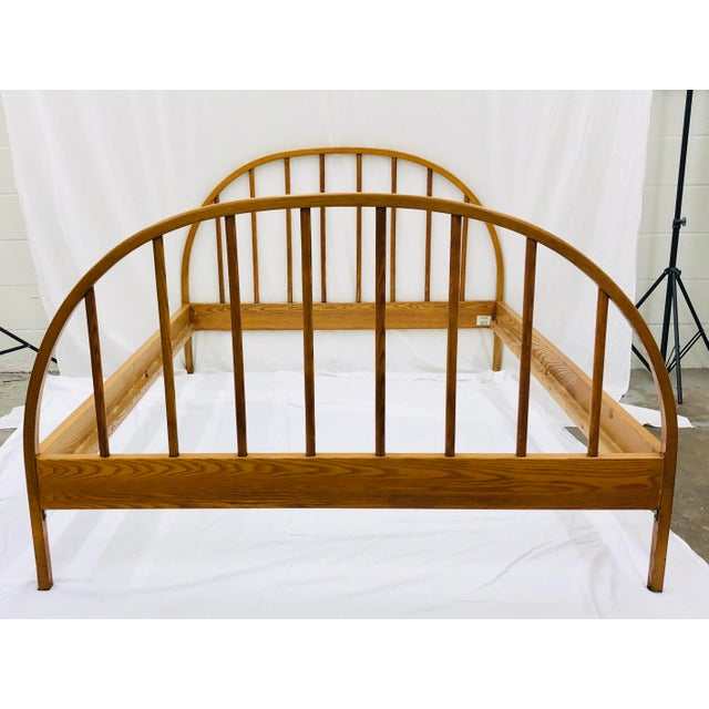 Wood Vintage Mid Century Modern Danish Style Wooden Bed For Sale - Image 7 of 13