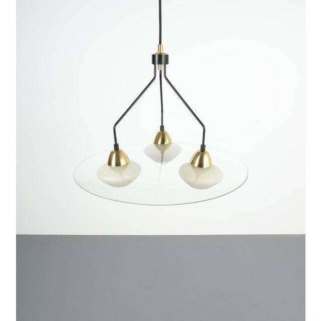 Angelo Lelii Style Ufo Chandelier Clear Glass Brass, Italy Circa 1955 For Sale - Image 9 of 13