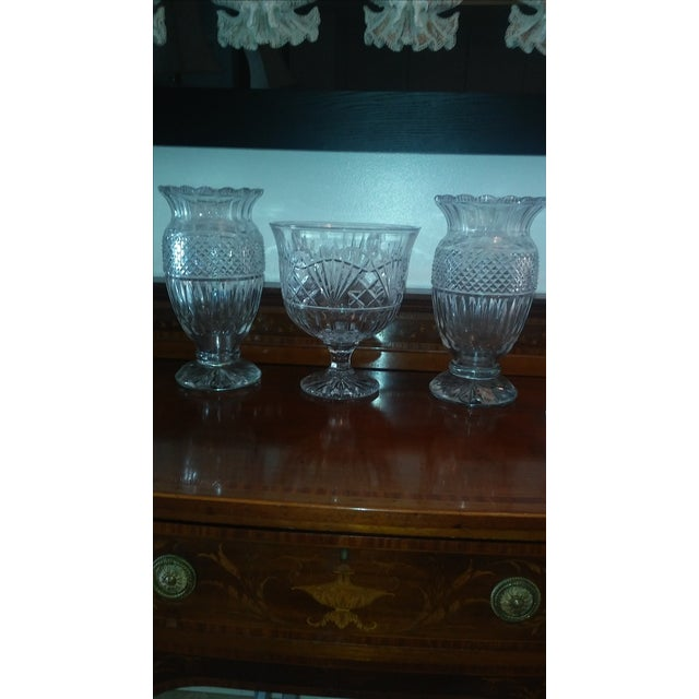 Glass Antique Large Waterford Irish Crystal Vases - 2 For Sale - Image 7 of 9