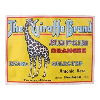 "1920's Original Vintage Spanish Oranges Advertisement - Antonio Vera - (Murcia) Beniajan Spain - ""The Giraffe Brand"" For Sale"