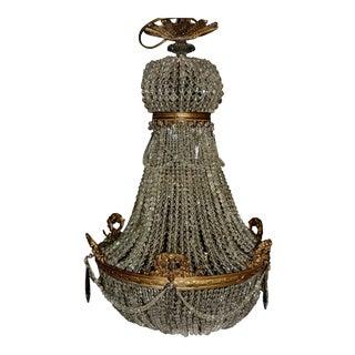 1890 Montgolfièr Antique Empire Brass Chandelier Crystal Lamp Lustre Art Nouveau For Sale