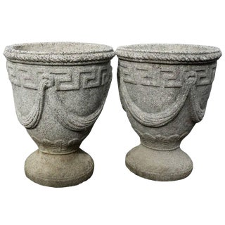 Cast Stone Greek Key and Swag Relief Urns - a Pair For Sale