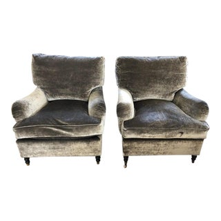 George Smith Style Grey Velvet Mohair Club Chairs- A Pair For Sale