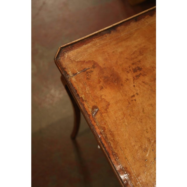 19th Century French Four-Drawer and Glass Holder Game Table With Leather Top For Sale - Image 9 of 10