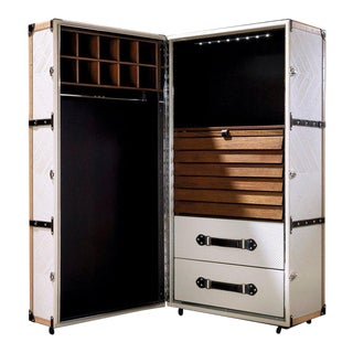 Leather & Walnut Cabinet from C.A. Spanish Handicraft For Sale