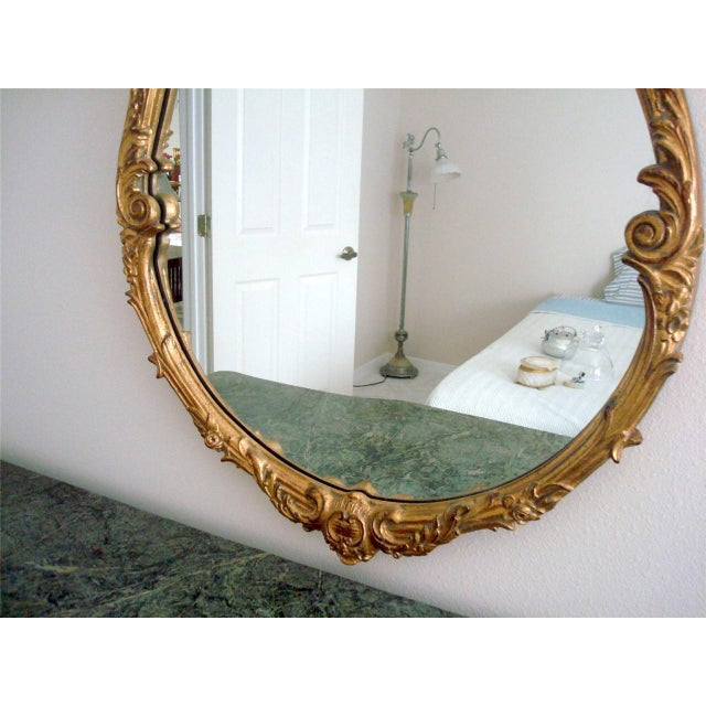 French Style Gold Gilt Wood Hand Painted Wall Mirror For Sale - Image 9 of 10