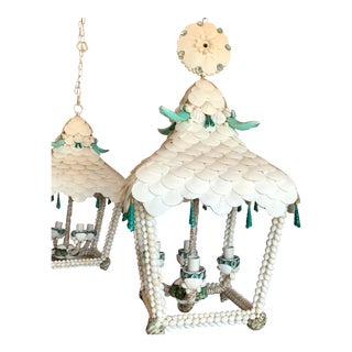 Pagoda White and Turquoise Seashell Lantern For Sale