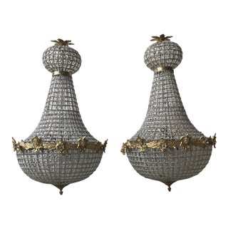 Empire Gold Cherub Large Chandeliers - a Pair For Sale