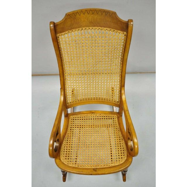 19th Century Antique Eastlake Victorian Cane & Maple Wood Primitive Rocker Rocking Chair For Sale In Philadelphia - Image 6 of 12