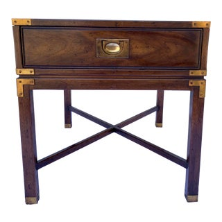 Campaign Heritage Mahogany Side Table With Drawer For Sale