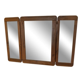 Vintage Mid Century 3 Panel Mirror for Dresser For Sale