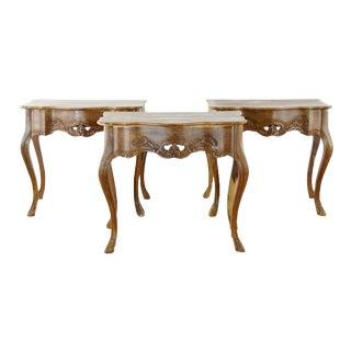 Rustic Carved Brazilian Hardwood Side Tables - Set of 3 For Sale