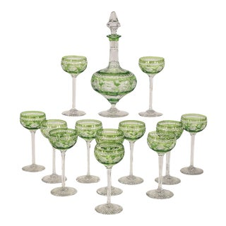 Webb Handblown Apple Green Overlay Crystal Decanter Set W/ 12 Cordials For Sale