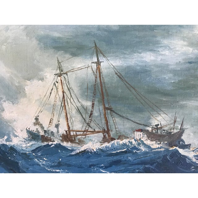 """1963 Bonnie Posselli """"Storm Tossed"""" Nautical Oil Painting - Image 4 of 8"""