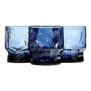 1960s Periwinkle Blue Glass Tumblers - Set of 4