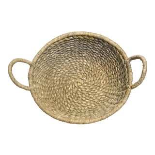 1960s Boho Chic Rattan Gathering Basket For Sale
