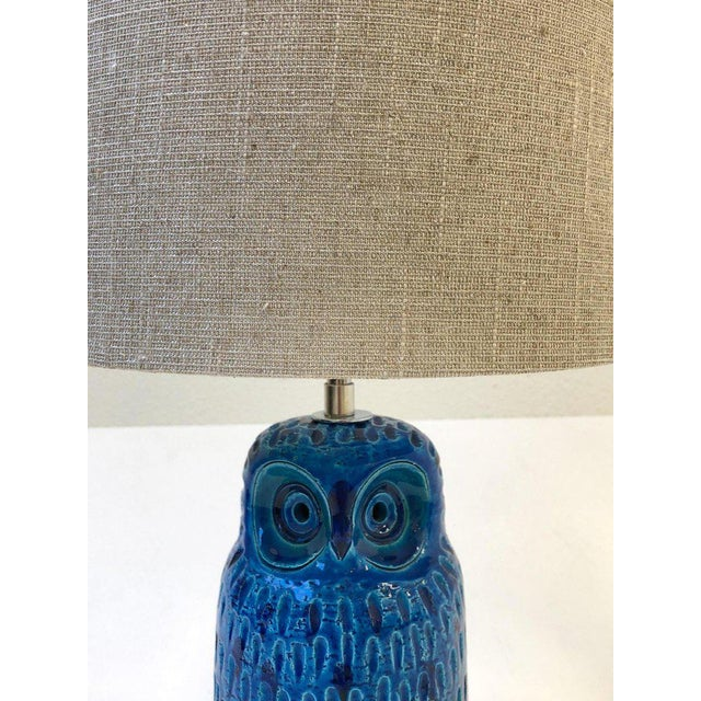 Italian Ceramic and Nickel Owl Table Lamp by Aldo Londi for Bitossi For Sale - Image 10 of 11