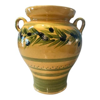 Hand Made French Provencal Olive Motif Vase For Sale