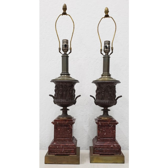 Metal Vintage Classical Roman Bronze Urns & Marble Table Lamps - a Pair For Sale - Image 7 of 11