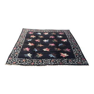 "Vintage Persian Nain Black with Colorful Leaves Wool Rug - 9'7"" X 12'5"""