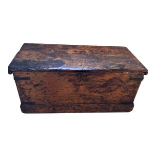 19th Century Primitive Wooden Blanket Chest For Sale