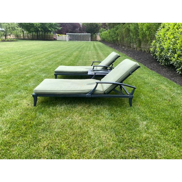 Traditional Restoration Hardware Klismos Chaise Lounge Chairs With Square Side Table- 3 Pieces For Sale - Image 3 of 6
