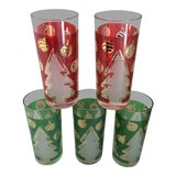 Image of Vintage Italian Christmas Tree and Ornaments Glass Tumblers - Set of 5 For Sale
