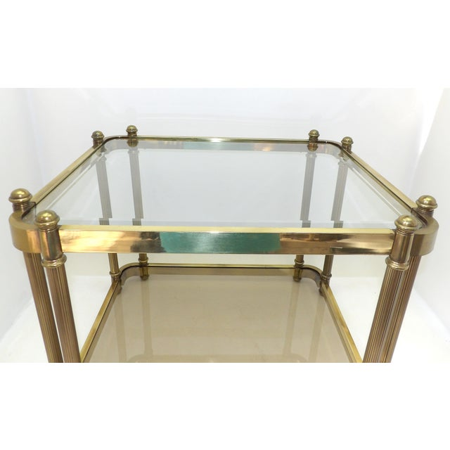 1960's Hollywood Regency Brass 2 Tier Glass Side Table For Sale In Sacramento - Image 6 of 10