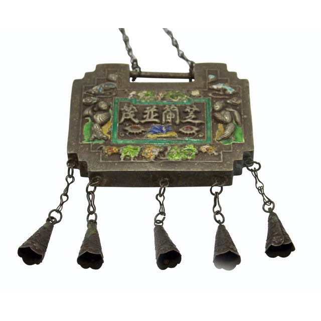 Chinese Ancient Metal Lucky Ping an Lock - Protective Talisman Necklace For Sale - Image 4 of 6