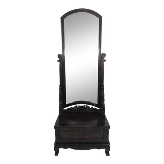 Late 20th Century Vintage Chinoiserie Rosewood Full Length Floor, Dressing or Hallway Mirror With Single Drawer, Chinese For Sale