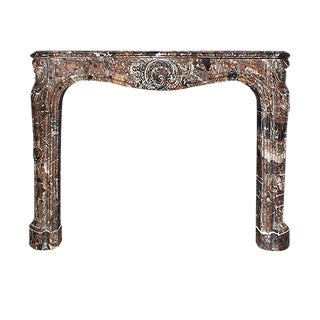 1890 Louis XV Style Supren Brown and Black Marble Mantel For Sale