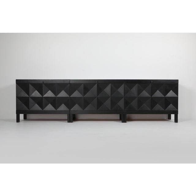 1970s De Coene Brutalist Stained Oak Credenza For Sale - Image 11 of 13