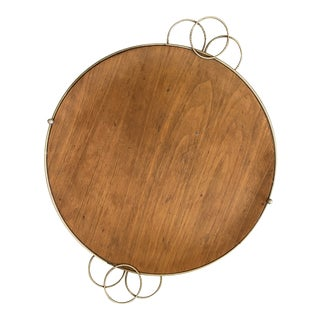 1970s Vintage Wood and Metal Round Tray For Sale